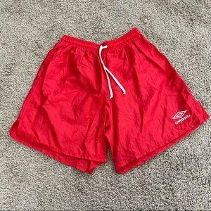 Vintage 90s Umbro Nylon Shorts Size Large Red